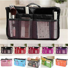 Dual Bag in Bag Cosmetic Makeup Travel Mesh Pouch Handbag Organizer-Maroon