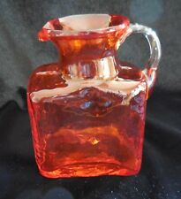 Vintage ORANGE BLOWN GLASS Small Square Pitcher CLEAR APPLIED GLASS HANDLE