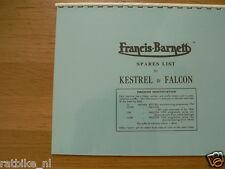 F0105 FRANCIS-BARNETT---SPARES LIST FOR KESTREL AND FALCON----MODEL