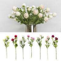 -Flower For Bridal Wedding Decor 3 Heads Artificial Ranunculus Bouquet DIY Silk