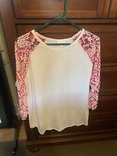 LuLaRoe Randy XL - White W Lace Pink Sleeves 💗