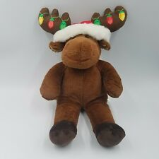 "Build A Bear Hal the Moose Working Christmas Lights Antlers 19"" Plush Santa Hat"