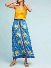 Anthropologie Maeve Cornelia Maxi Skirt Blue Yellow Button Front Floral 6