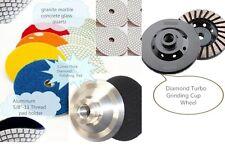 "4"" Diamond Polishing Pad Grinding Cup 16 PC + Aluminum Backer Granite concrete"