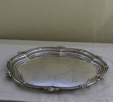 Sterling Silver Round Shaped Salver, Chased & Pierced Border