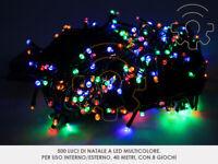 Serie 500 luci di Natale a led multicolore 40 mt catena 8 giochi per esterno e i
