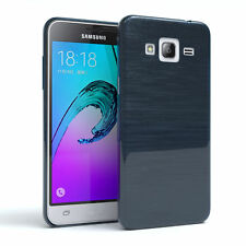 Schutz Hülle für Samsung Galaxy J3 (2016) Brushed Cover Handy Case Dunkelblau