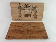 2 Rare Wine Wood Vin Grand Cru Haut Medoc Panels Vintage Crate Box Side 1982