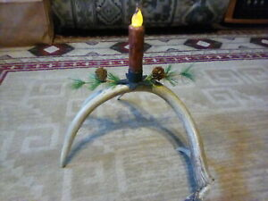 Whitetail Antler Candle Holder with Battery Timed Primative  Candle
