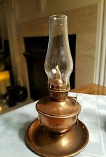 """Vintage  """"STELLAR"""" Copper Oil Lamp  Made In Hong Kong 7 1/2"""" Tall"""