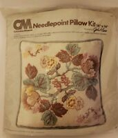 "Vtg Columbia Minerva Floral Tapestry Needlepoint Pillow Kit 14""x14"" NOS 1978"