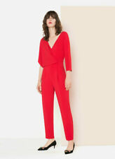 Uterque Red Unusual Stunning Jumpsuit Size Small Wrap front V neckline