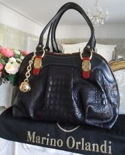 Marino Orlandi Black Croc Print Leather Large Satchel Tote Gold Ball Charm Italy