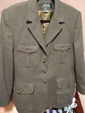 RALPH LAUREN Women's 16 Green Tweed Wool Equestrian-Style Jacket CLASSIC!!!
