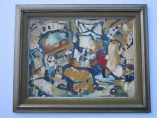 EMMY JOHNSON 1950'S MID CENTURY MODERN PAINTING OLD CAR ABSTRACT EXPRESSIONISM