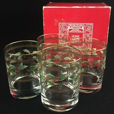 4 VTG Christmas Double Old Fashioned Glasses Durand Royal Limited Holly Holiday