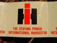 "VINTAGE INTERNATIONAL HARVESTER ""IH"" STICKERS-4 UNUSED-DEALERSHIP ADVERTISING!"