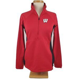 Columbia Wisconsin Badgers 1/2 Zip Pullover Softshell Jacket Medium Omni-Shield