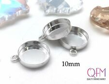 10 pcs Sterling Silver 925 Round Bezel cup 10mm with one loop - Jewelry Bases