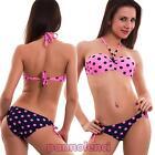 Bikini donna costume da bagno imbottito fascia POIS due pezzi nuovo S15012