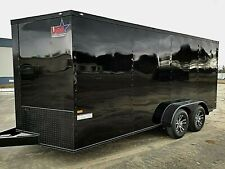 7'x16' Enclosed Trailer Cargo Blackout ATV 7FT. Utility V Nose 14 Motorcycle