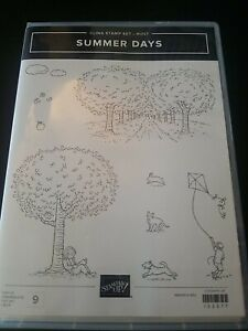 Stampin Up Summer Days 9 Pc Cling Stamp Set, New