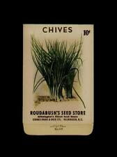 1930's ROUDABUSH'S SEED STORE CHIVES SEED PACKET 10 CENTS / WILMINGTON, N.C.