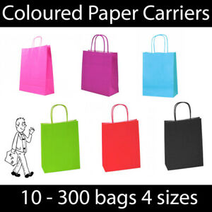 Bright Colour Twist Handle Paper Carrier Bags Gift Christmas Birthday Party Bag