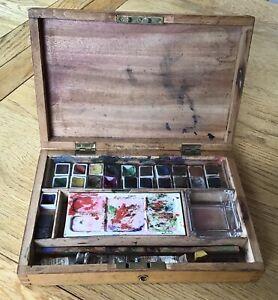 Antique 1930's Winsor & Newton Watercolour Set - Wooden Box