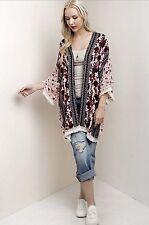 NWT Kimono pink black ivory Oversized Poncho Mixed Print Tassel Edges Easy Fit L