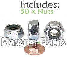 (50) M10-1.5 / 10mm Nylon Insert Hex Lock Nut DIN 985 Steel w Zinc CR+3 Class 10