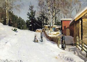Postkarte: Monsted - Spielende Kinder auf verschneiter Dorfstraße im Winter