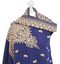 Navy Indian 100% Pashmina Wool Hand Embroidered Shawls Wrap Scarf Stole Kashmiri