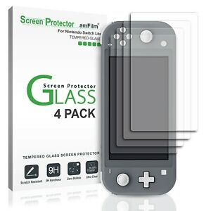 Nintendo Switch Lite amFilm Premium Tempered Glass Screen Protector (4 Pack)
