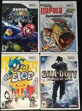 Nintendo Wii - Lot Of Games - Super Mario Galaxy Rapala Call Of Duty Da Blob