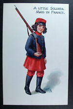 POSTCARD A Little Soldier Maid in France; R Tuck Oilette; For The Cause; WWI