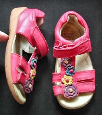 Clarks Girls dark pink leather sandals adjustable front + strap UK 6.5 EU 23.5