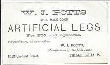 Business Card, Maker of Artificial Legs, c1870s