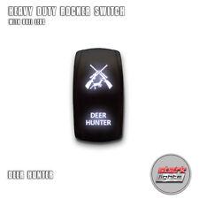 WHITE Laser Etch LED Rocker Switch 5 PIN Dual Light 20A 12V ON OFF - DEER HUNTER