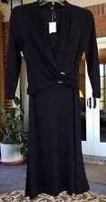 NWT Banana Republic 3/4 Sleeve Cocktail Dress Faux Wrap Top Size XS Black
