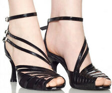 New Women Black Leather Latin Salsa Ballroom Tango Dance Shoes Size 5-10