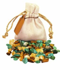 Money Power Pouch Healing Crystal Stones Set Tumbled Natural Abundance Gemstone