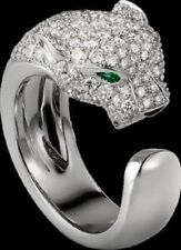 Authentic! Panther 18k White Gold Over Diamond Emerald Wedding & Engagement Ring