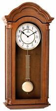 "Nice Wooden Grandfather Silent Wall Clock Ornate Pendulum Glass 26""x12""x4.75"""