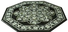 """36"""" black Marble Table Top mother of pearl Inlay art handmade floral craft Work"""