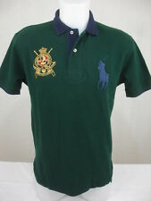 Ralph Lauren Big Pony Polo Shirt County Riders Jockey Club Crest Green Navy S
