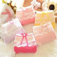 Women Cute Candy Color Panty Soft Cotton Lace Bow-knot Knickers Underwear Briefs