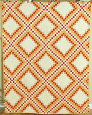 WELL QUILTED Vintage 1880's Postage Stamp Irish Chain Antique Quilt ~SM. PIECES!