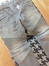 NWT BALMAIN Slim-Fit Destroyed Gray Cotton Denim Biker Jeans sz 36