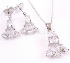 Clear CZ Cubic White Gold PlatedWedding Birthday Dangle Earrings Necklace Set